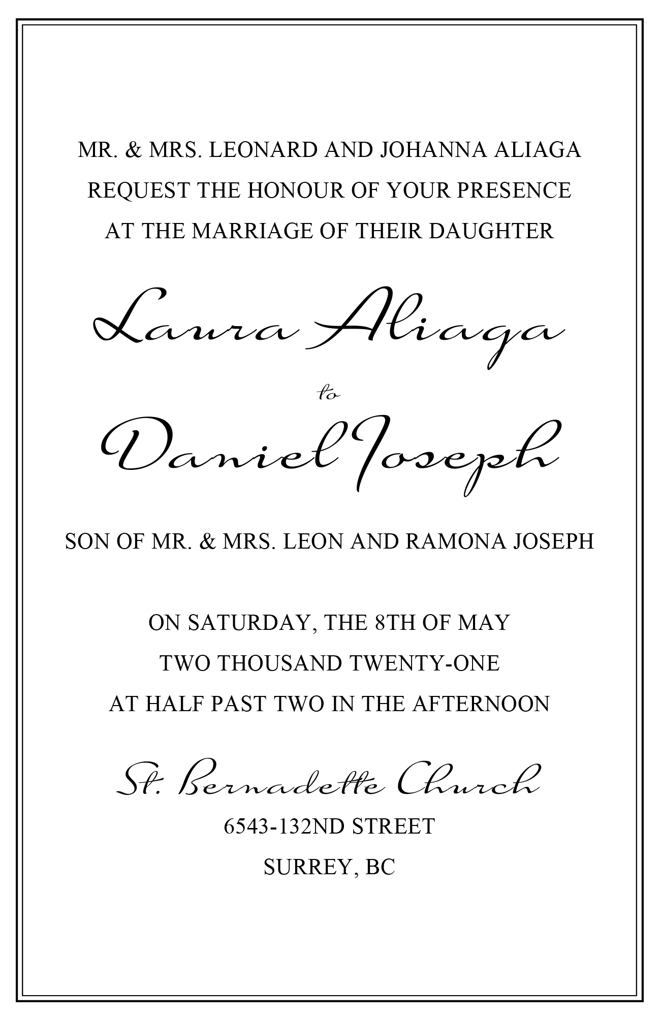 wedding invitation wording template with border
