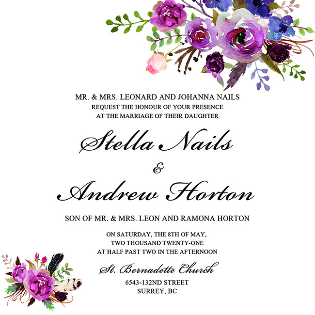 wedding invitation wording template with floral image