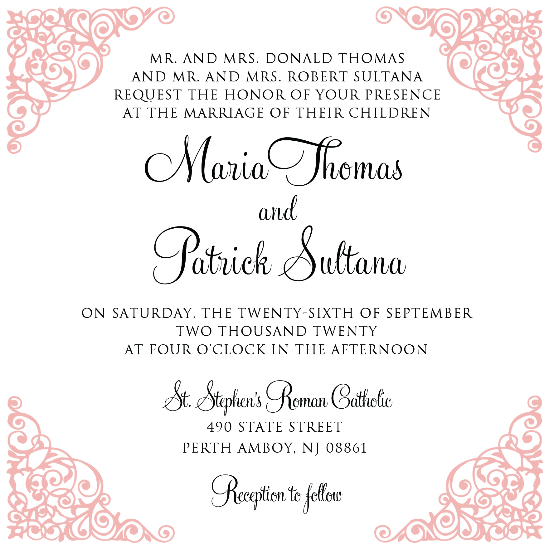 wedding invitation wording template with lace corner
