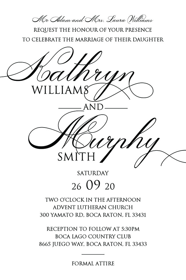 wedding invitation wording template with script handwriting