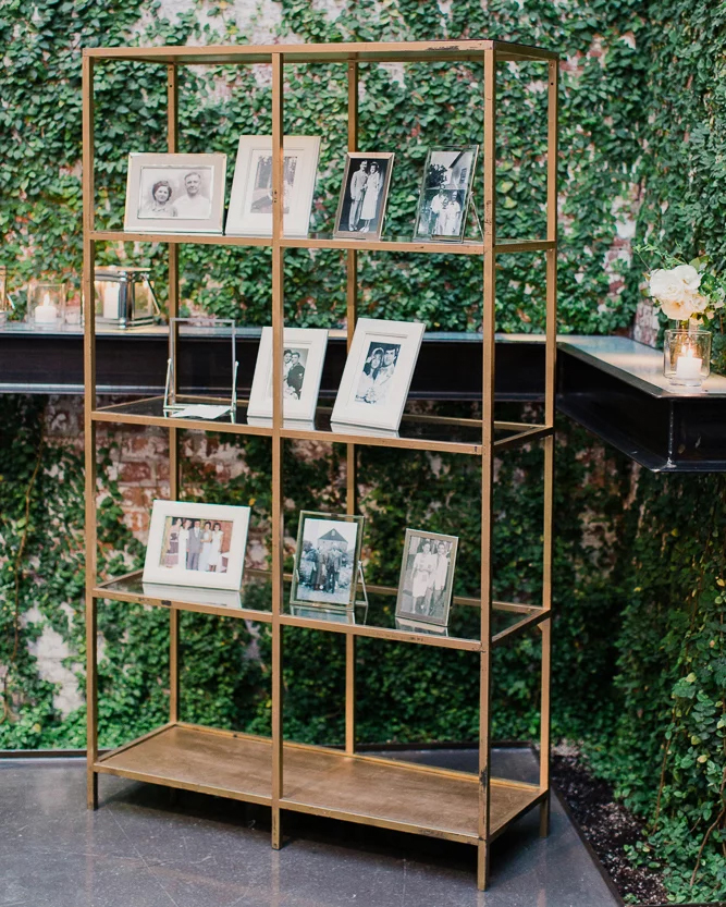 wedding photo bookshelf display ideas