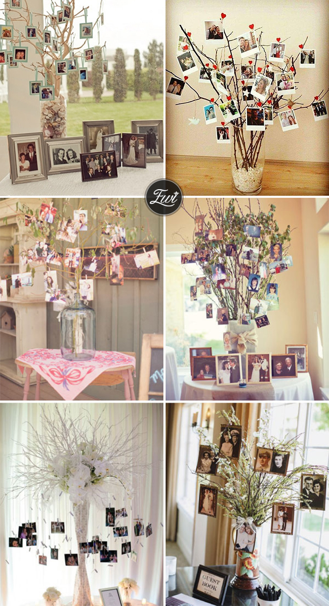 wedding photo display ideas with branching out display