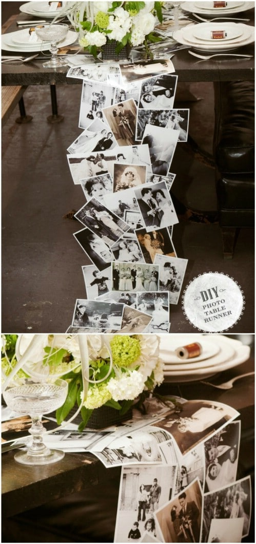 wedding photo display ideas with table runner decor