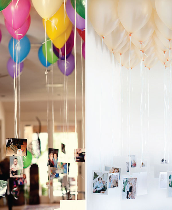 wedding photo floating memories with balloon display