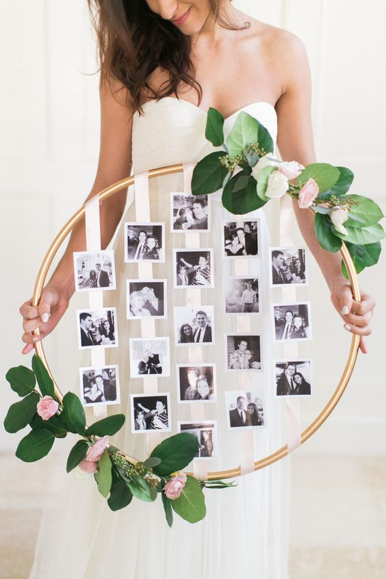 wedding photo floral hoop display ideas