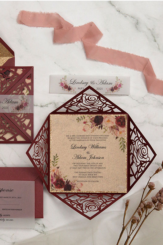 Fall rustic burgundy laser cut wrap with floral wedding invitations ideas