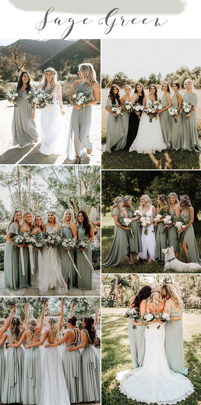 Popular sage green bridesmaid dresses wedding ideas