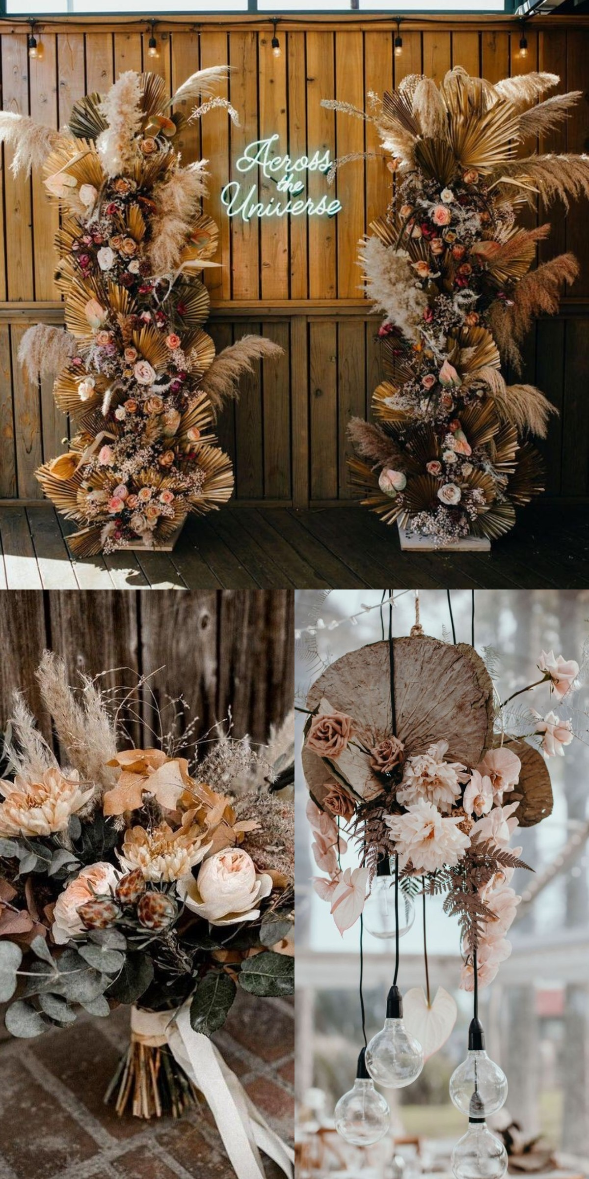 autumn boho wedding ideas with dried bouquet trend