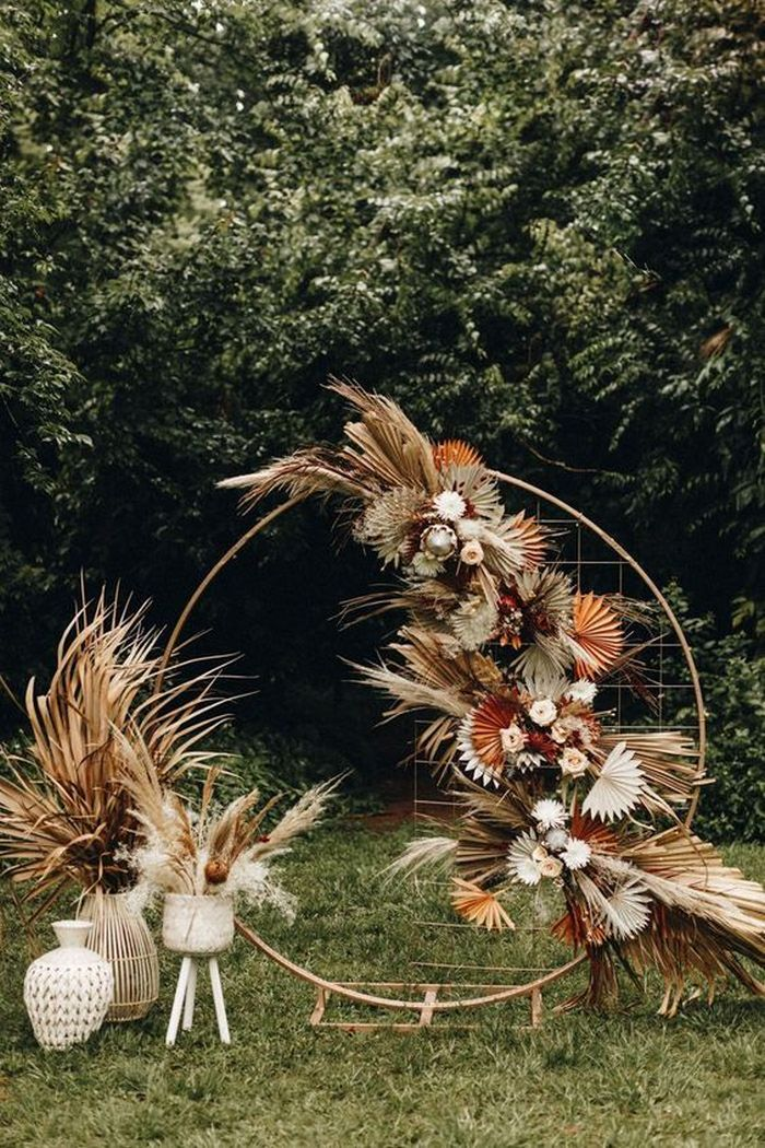 boho dried flower wedding arch idea in fall