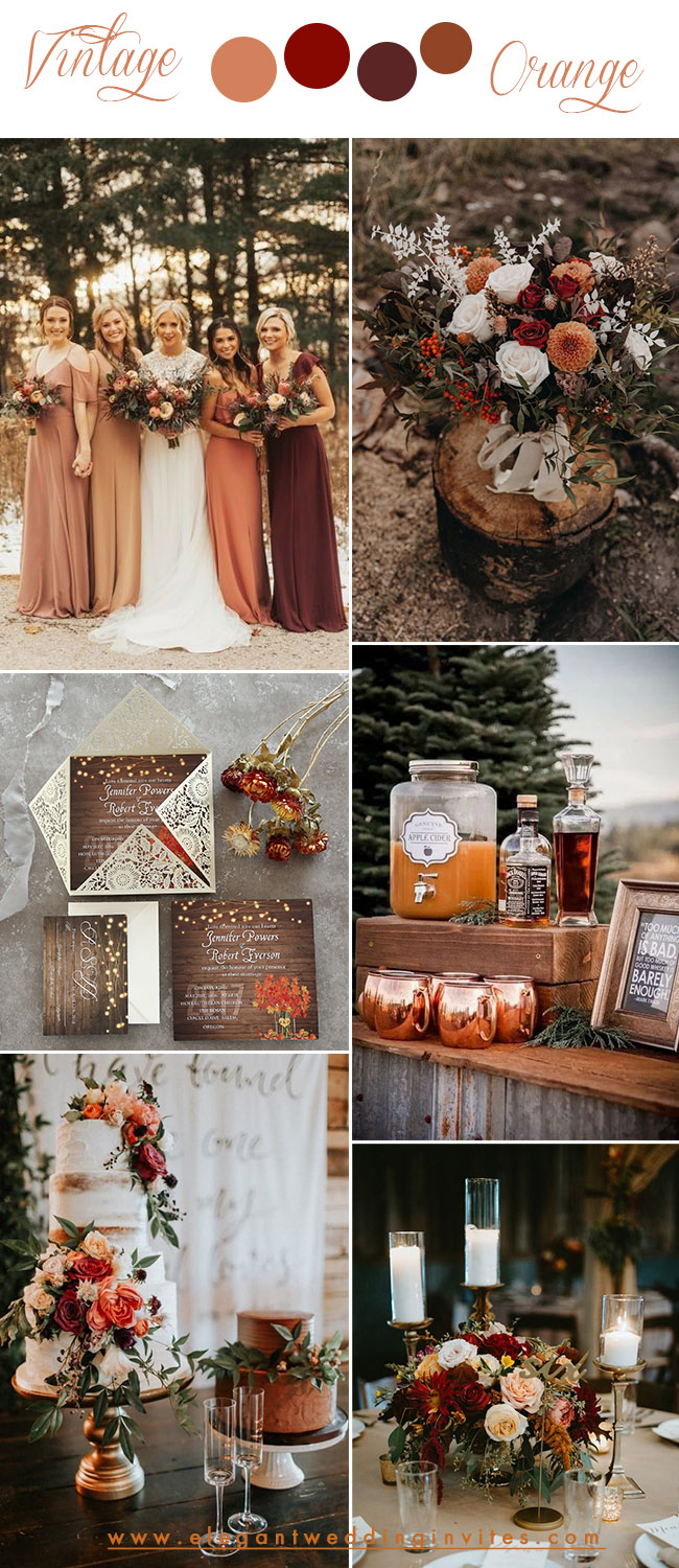bold vintage october fall wedding color combos in orange and wine
