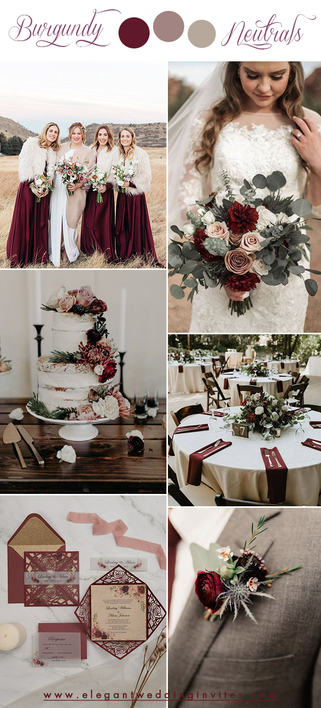 burgundy and neutral shades rustic chic fall wedding colors