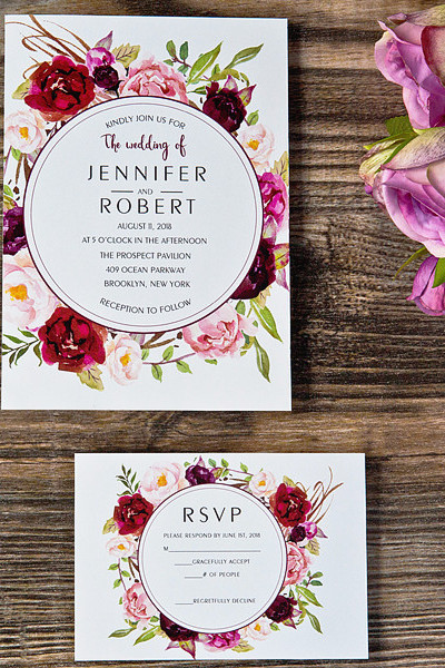 burgundy floral boho wedding invitation for wedding ideas