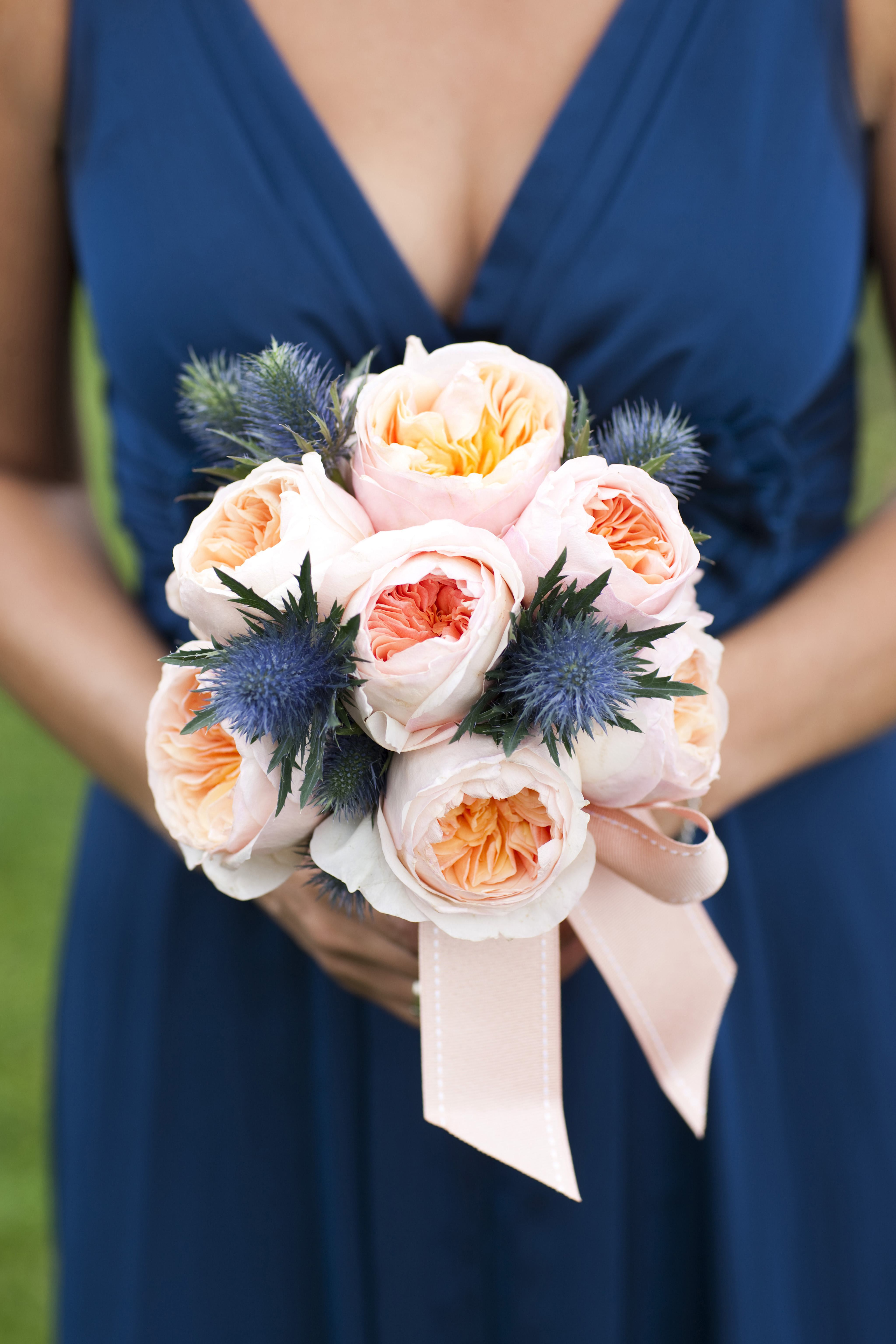 classic blue wedding dress ideas with simple peach rose floral