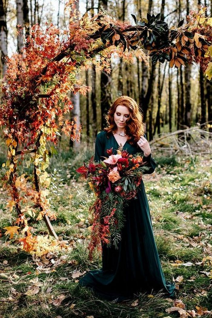 colorful leaves rustic fall Wedding palette that celebrate the season