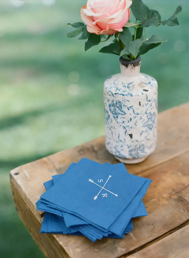 customize cocktail napkins for classic blue wedding
