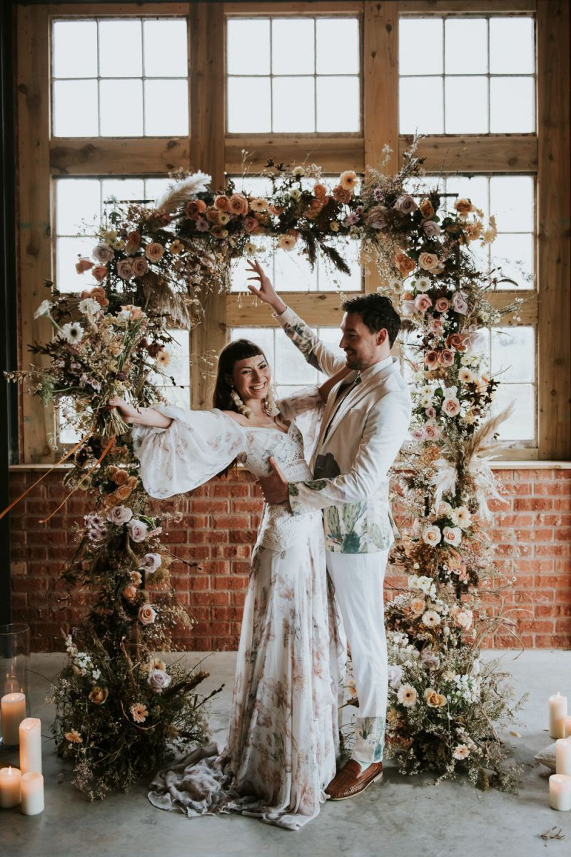 dried flowers and floral wedding arch for luxury boho inspiration in autumn