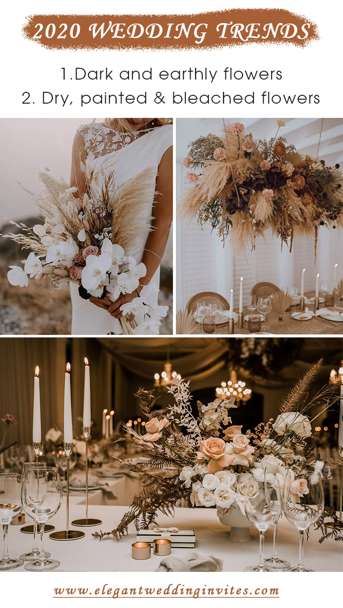 dry flowers wedding trends for 2020 fall wedding decoration