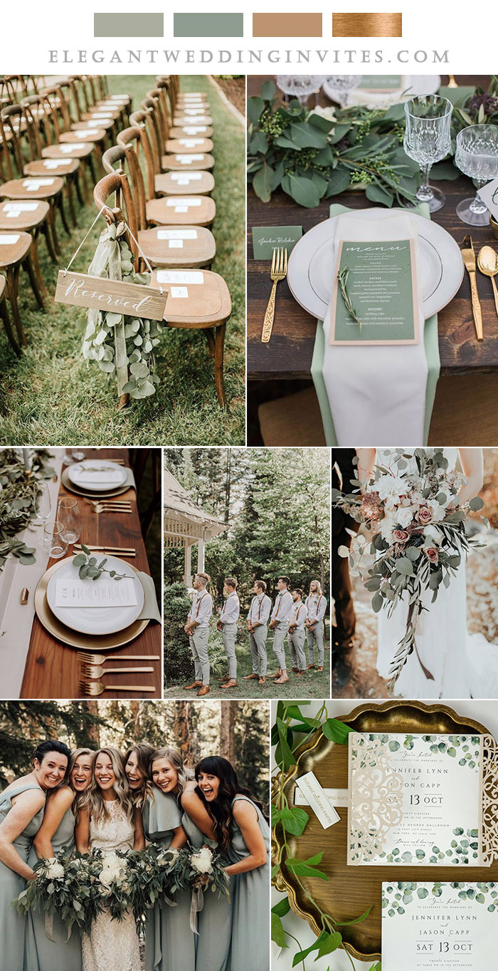 earthy tone and sage rustic wedding colors with shimmer gold details
