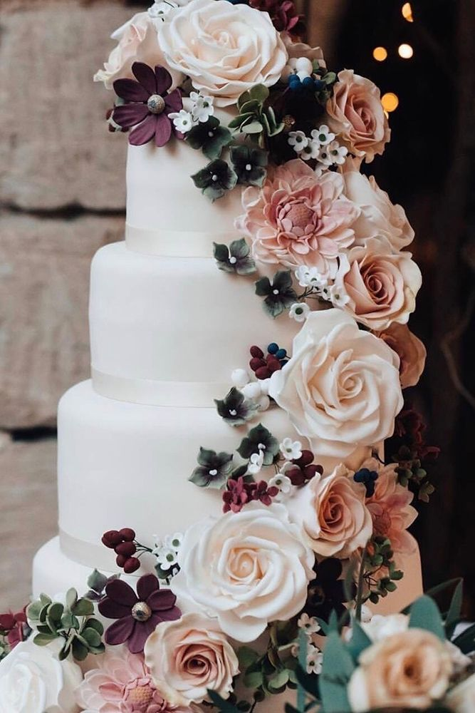 elegant floral teal and dusty rose wedding cakes