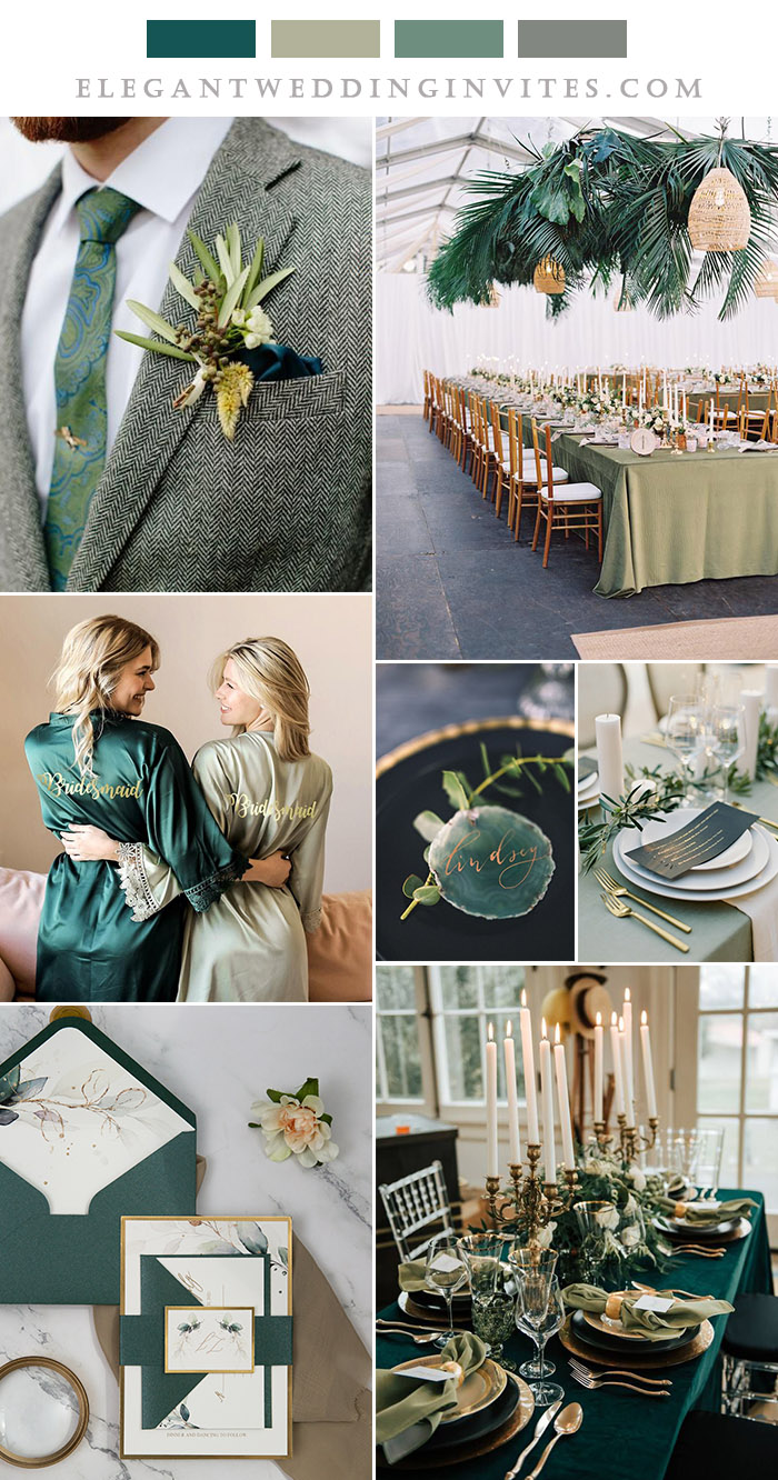 emerald green and willow green stylish wedding color inspiration