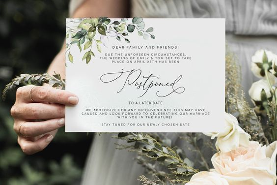 event change the date card for postponed wedding
