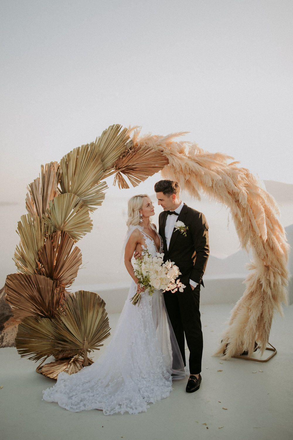 intimate destination wedding in autumn with pampas grass