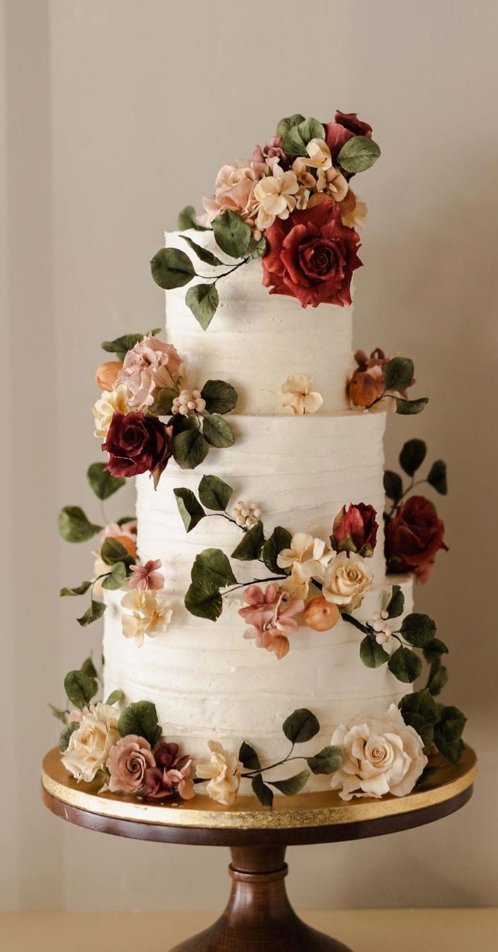 jaw dropping textured painted flower wedding cakes