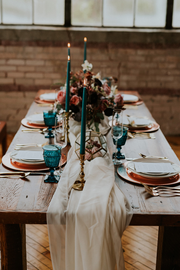 modern jewel tone wedding centerpieces with gold accents