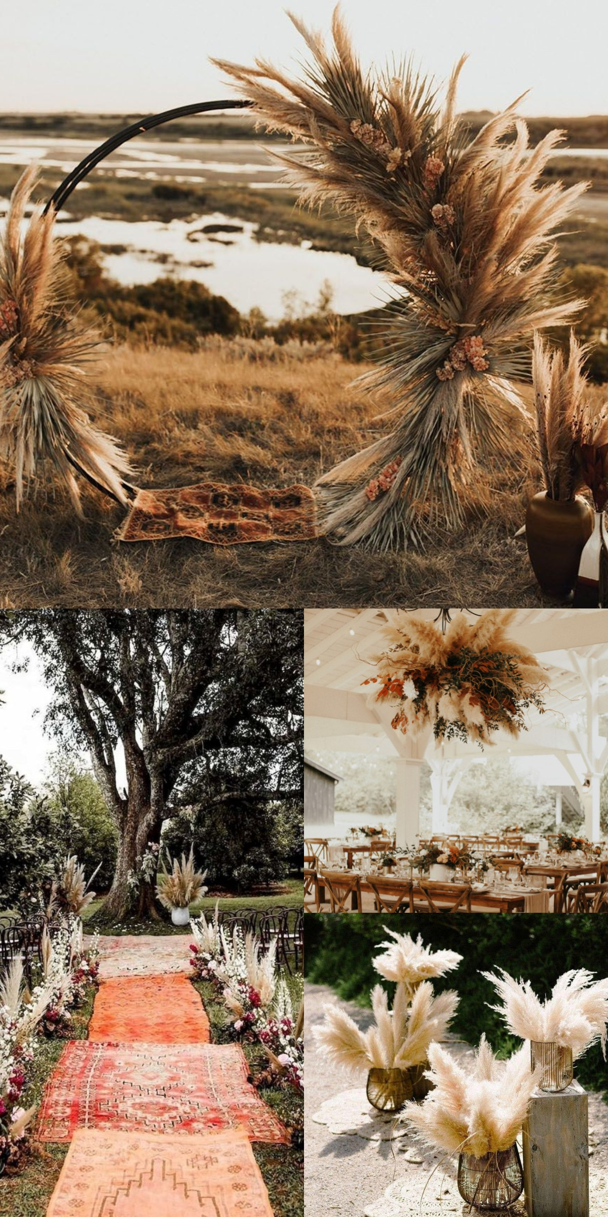 pampas for rustic fall wedding decoration ideas