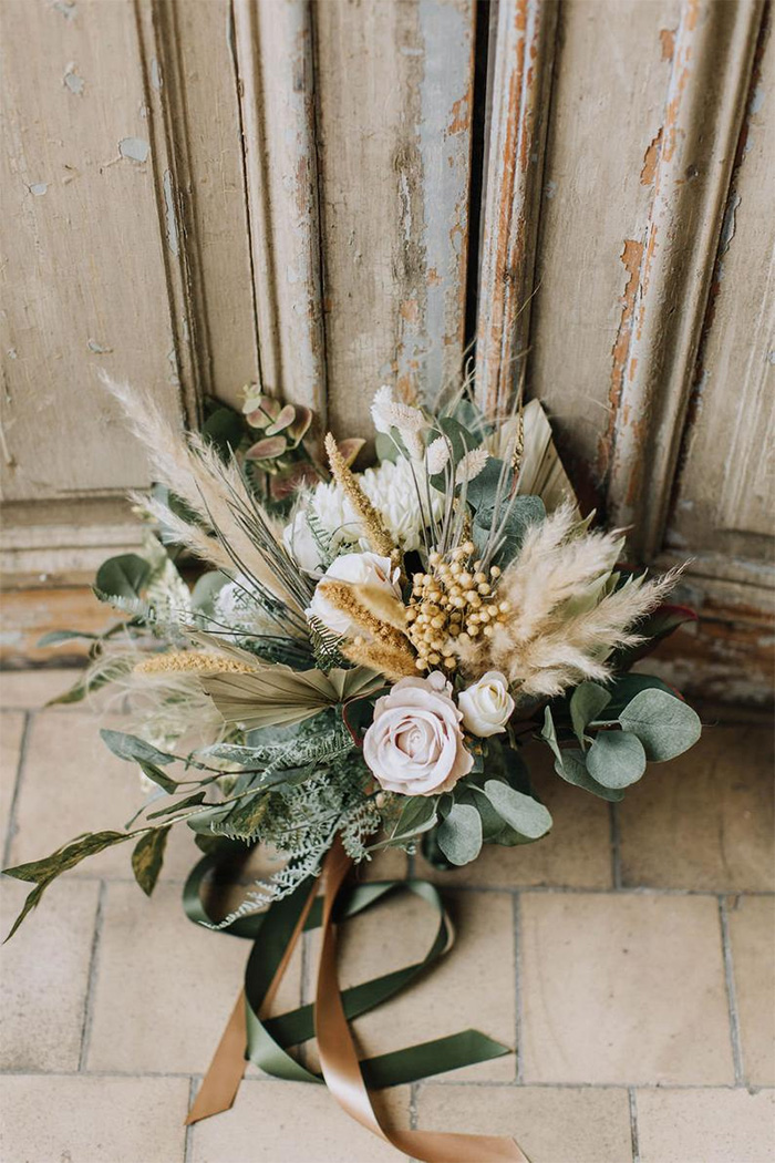 pampas grass and eucalypus wedding bouquets