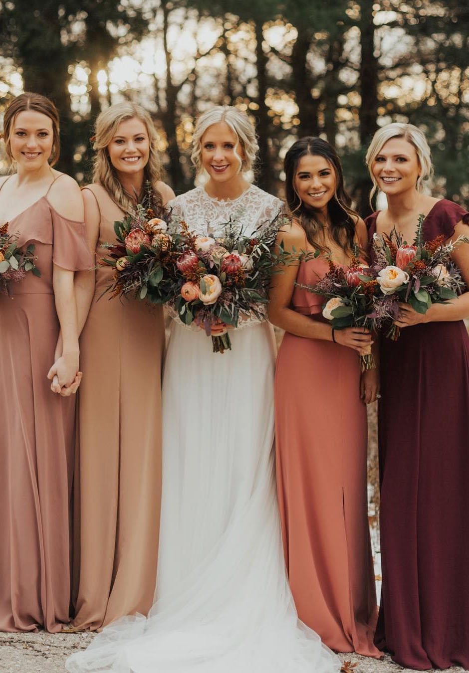 rich and bold earthy tone fall bridesmaid dresses