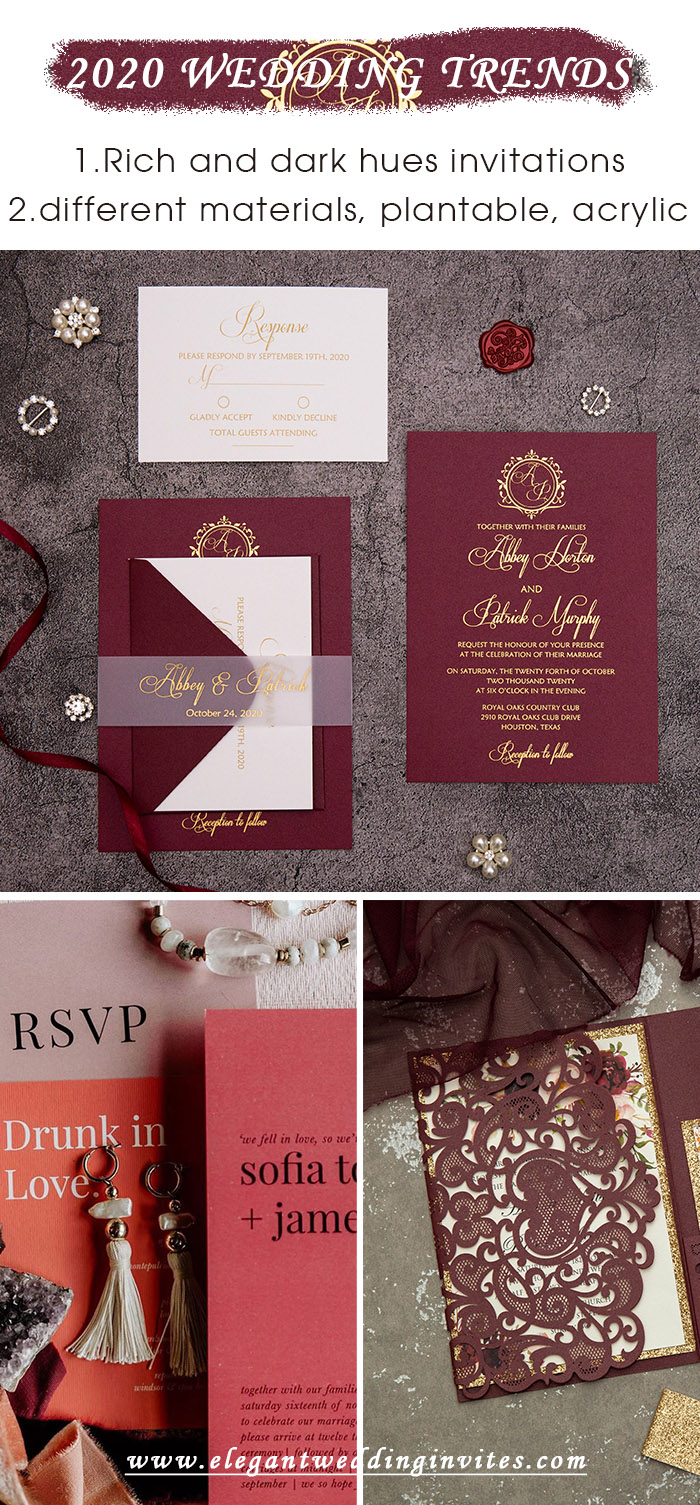 rich and dark hue wedding invitation color trends for 2020 fall season