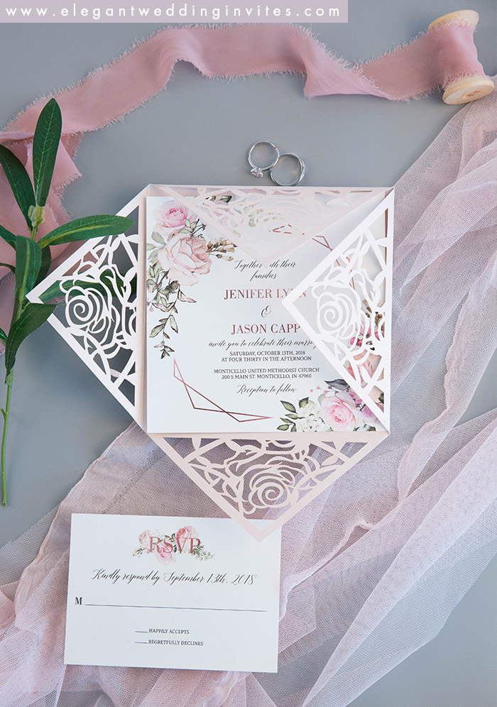 romantic blush pink flower laser cut wedding invitation suite