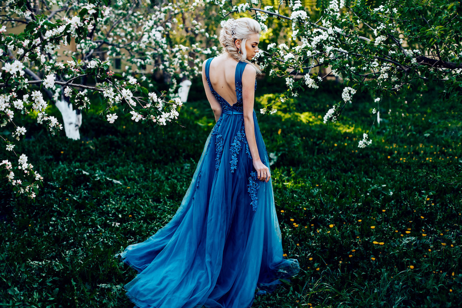 romantic classic blue wedding dress for spring wedding