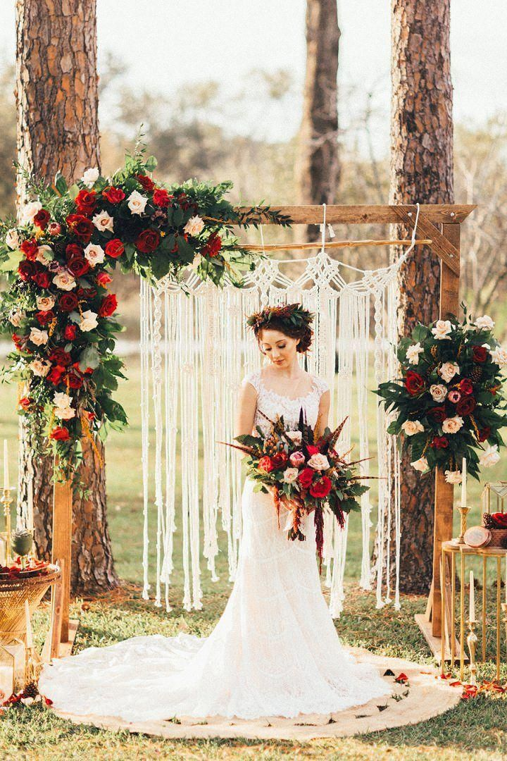 rustic fall bohemian wedding arch inspiration