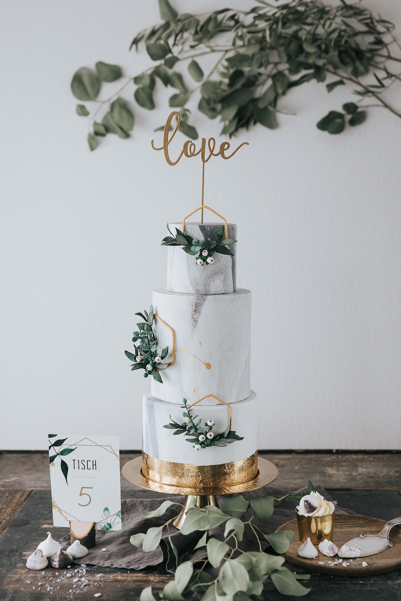 sage and gold foil marble inspired modern wedding cakes