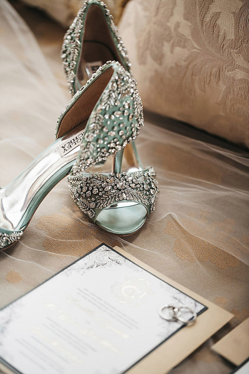 sage green and silver glitter wedding shoes
