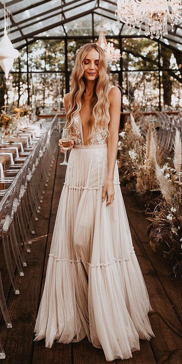 sexy boho style rustic wedding dresses