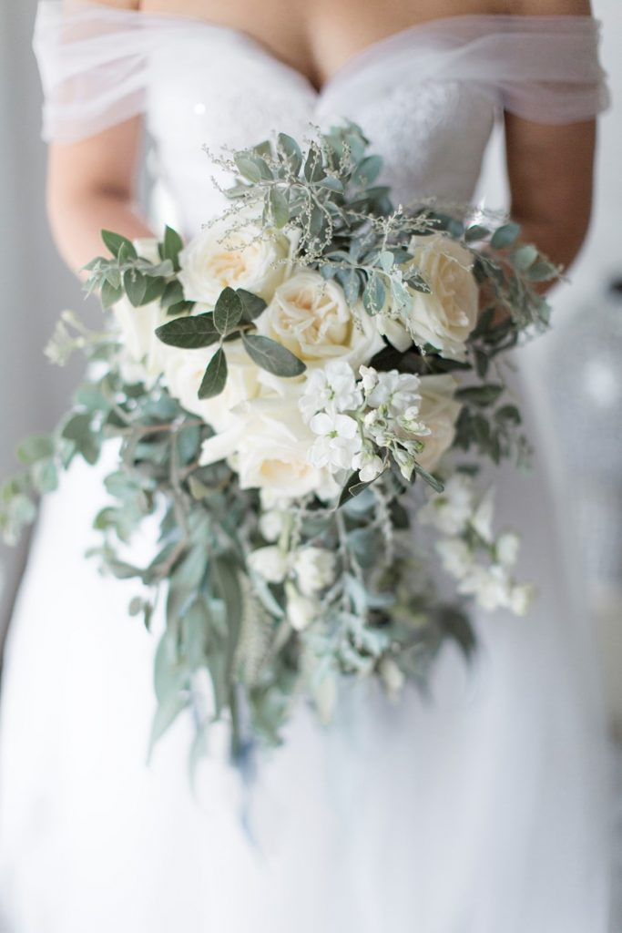 silver sage and ivory flower wedding bouquets