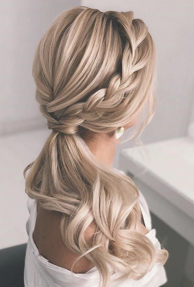 simple braided ponytail hairstyle for weddings