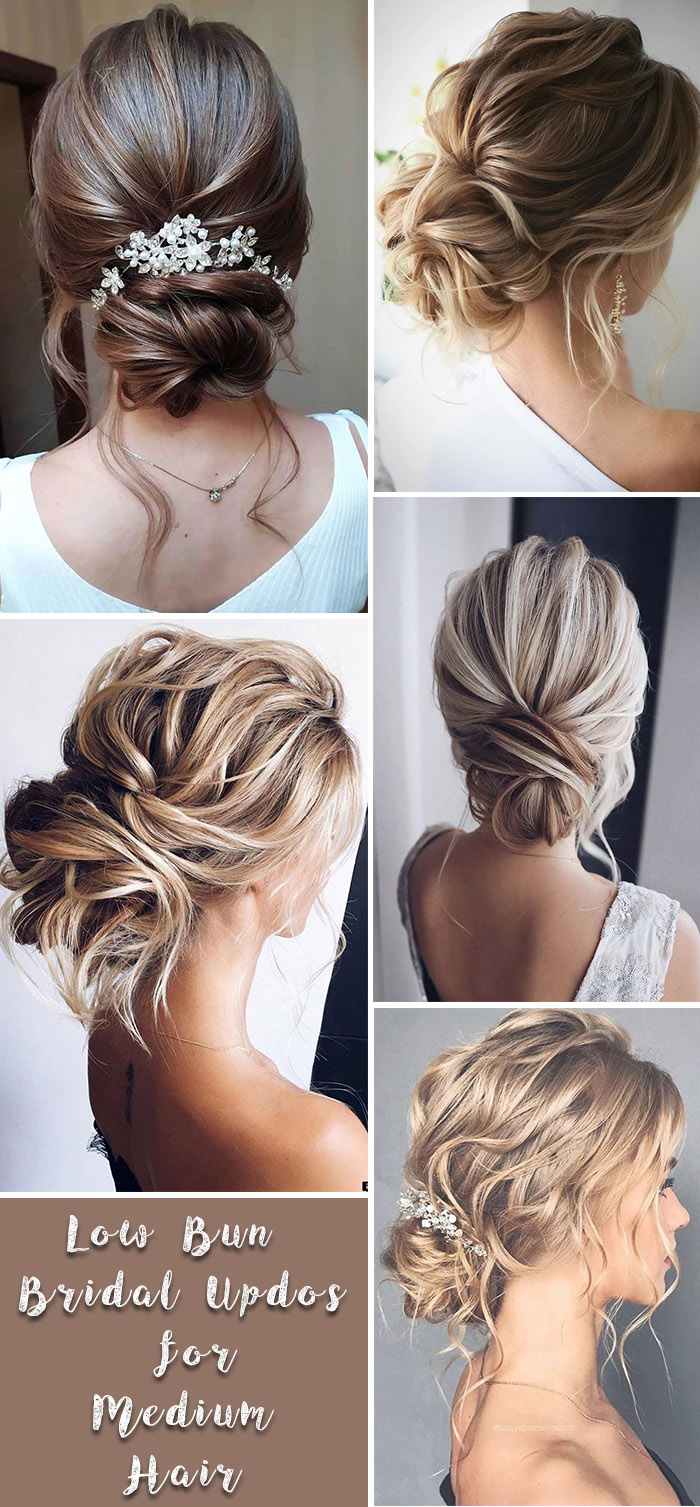 simple low bun uodos for medium hair brides