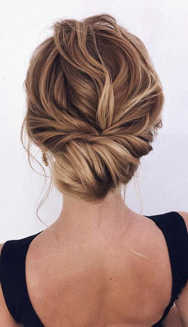 simple french twist low bun wedding hairstyles for medium and short hair