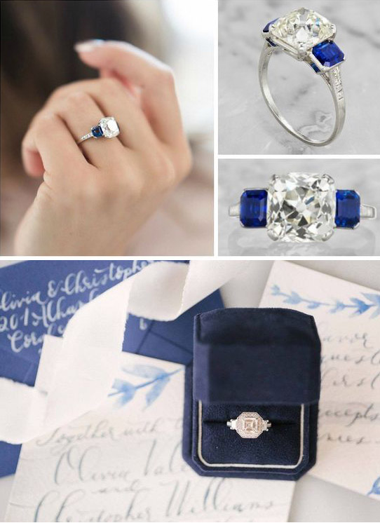 stunning classis blue wedding engagement ring
