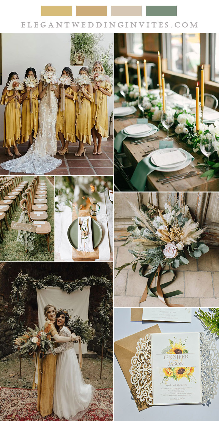 sunflower yellow and sage green rustic chic wedding color ideas