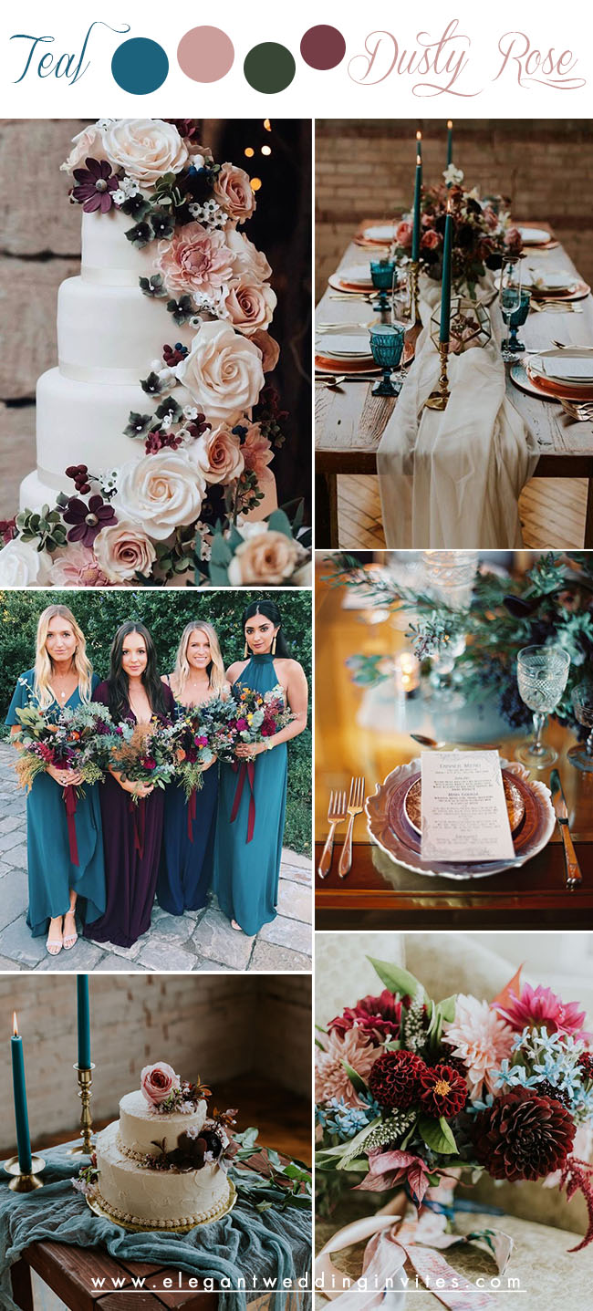 teal blue, dusty rose and burgundy jewel tone fall wedding colors