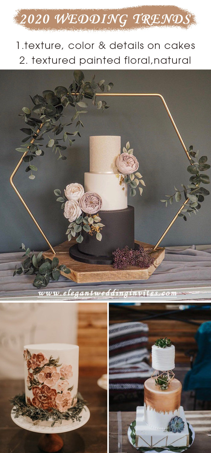 textured and unique wedding cake trends for 2020