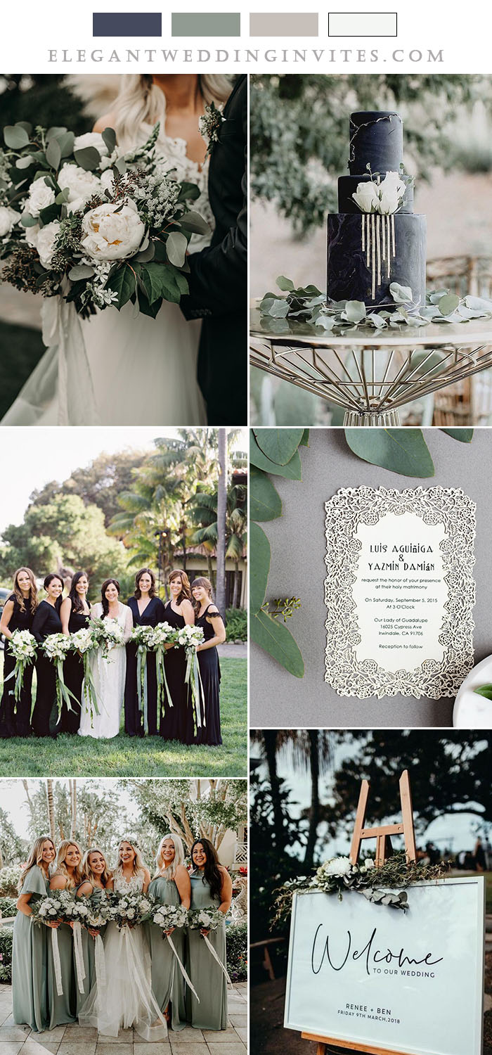timeless black and white wedding colors with sage green hues