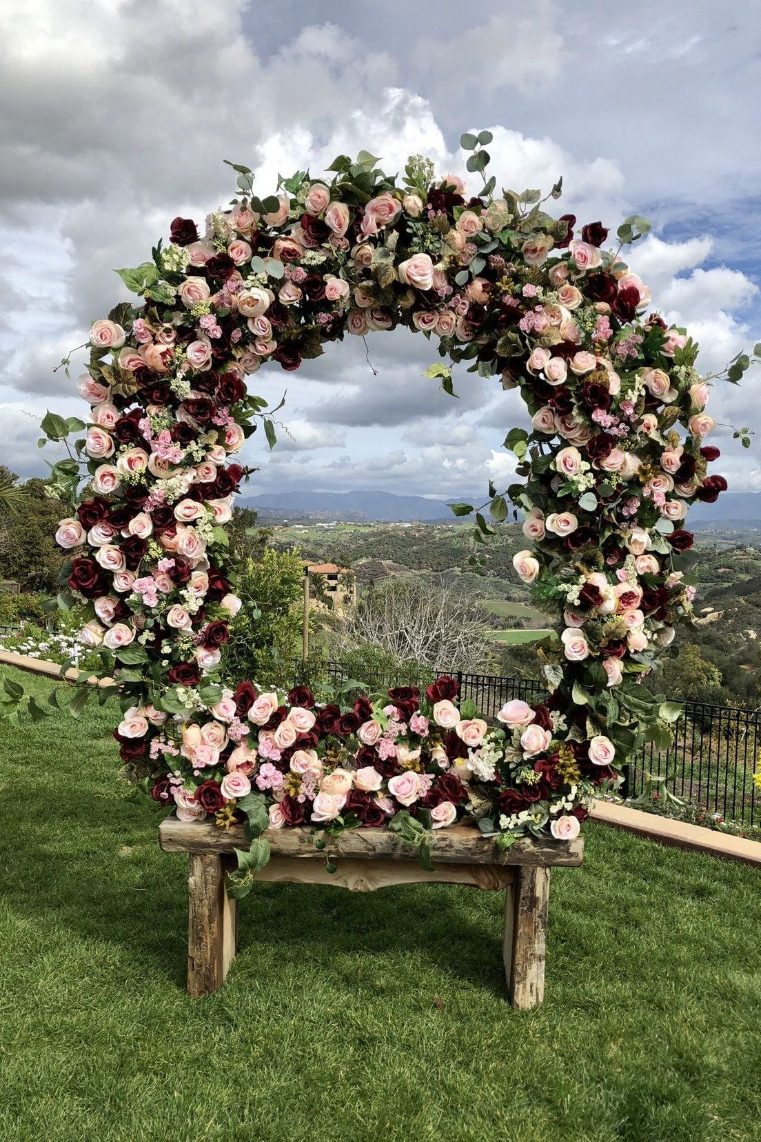 top burgundy and blush fall rustic wedding circle ceremony arch ideas