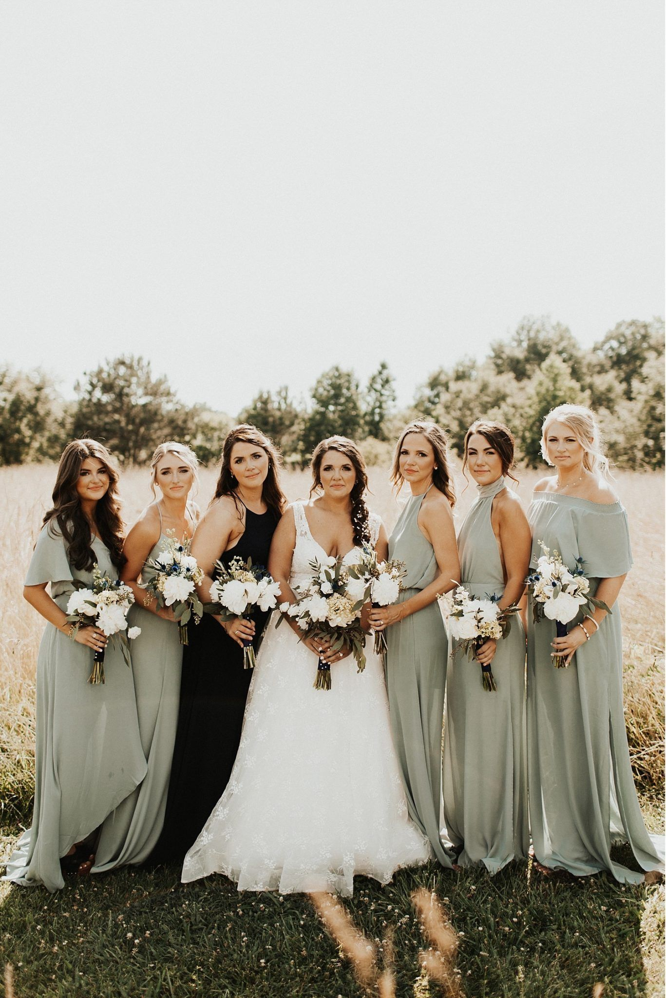 trending mismached sage green bridesmaid dresses