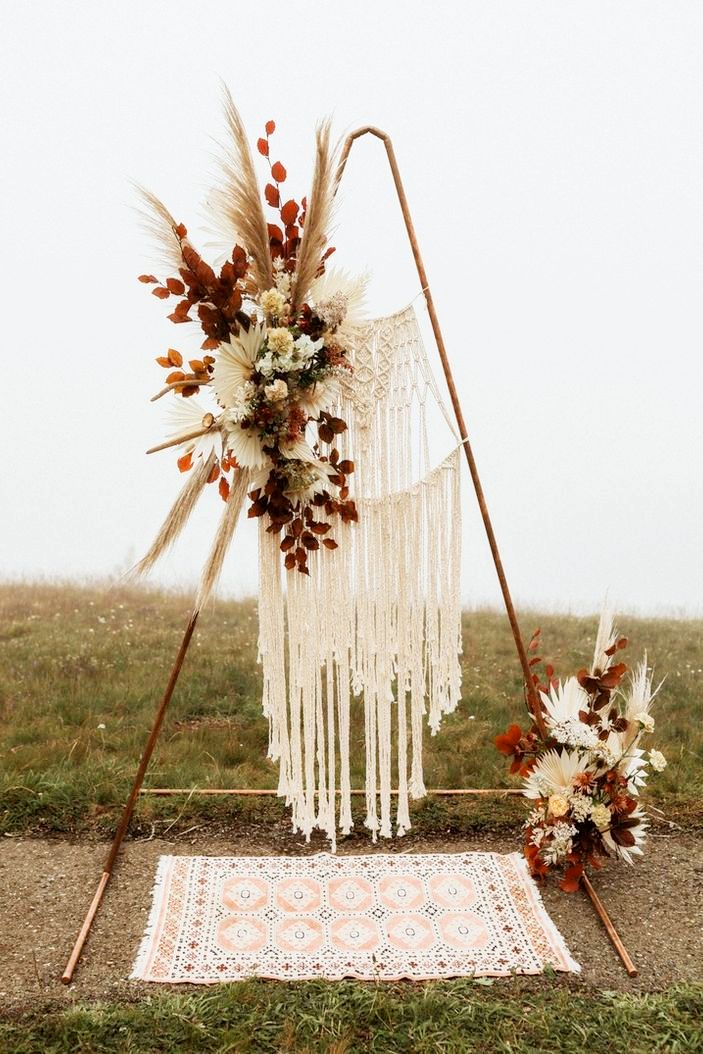 triangle boho fall wedding ideas with flower